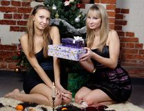 Two beautiful girls with box of present Stock Images
