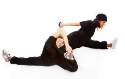 Two beautiful girls breakdancers Stock Photo