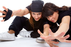 Two beautiful girls breakdancers Royalty Free Stock Image