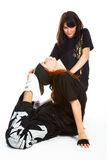 Two beautiful girls breakdancers Royalty Free Stock Photos