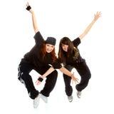 Two beautiful girls breakdancers Stock Image