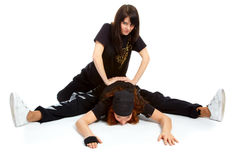 Two beautiful girls breakdancers Stock Photos