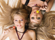 Two beautiful girls with bright makeup Royalty Free Stock Image