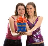 Two beautiful girls celebrating Royalty Free Stock Photos