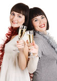 Two beautiful girls with champagne glasses Royalty Free Stock Images