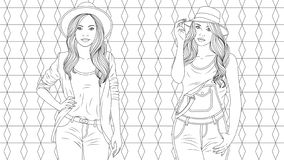 Two beautiful girls coloring pages royalty free illustration