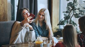 Two beautiful girls are doing selfie in a cafe and smiling. Two beautiful girls blonde abd brunette are doing selfie in a cafe and smiling,Two girls having lunch stock video footage