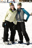 Two Beautiful Girls Dressed In Ski Suits Stock Photography