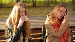 Two Beautiful Girls Eating Fast Food in the Park During Sunny Day in Autumn. Students Having Lunch Sitting on the Bench stock footage
