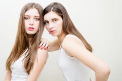 Two beautiful girls fashion look Stock Image