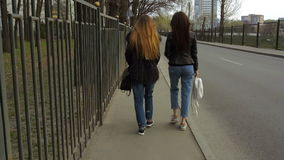 Two beautiful girls go along the road. In slow motion stock video