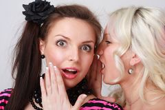 Two beautiful girls gossip. Stock Photo
