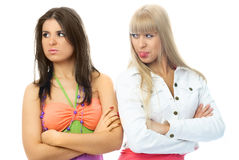 Two beautiful girls have a conflict Royalty Free Stock Photography