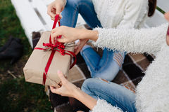 Two beautiful girls holding gifts Royalty Free Stock Images
