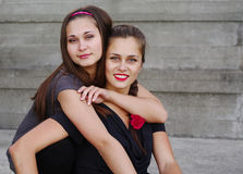 Two beautiful girls hugging Royalty Free Stock Image