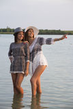 Two beautiful girls at the lake Royalty Free Stock Images