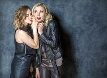 Girls gossiping in the Studio. Two beautiful girls in leather jackets whispering in the Studio on dark grey background stock photo