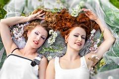 Two beautiful girls lying Royalty Free Stock Photo