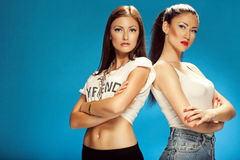 Two beautiful girls model Royalty Free Stock Images