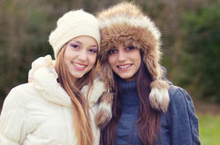Two beautiful girls outdoor Royalty Free Stock Photo