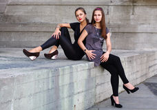 Two beautiful girls outdoors Stock Photography