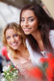 Two beautiful girls outdoors Royalty Free Stock Images