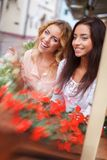 Two beautiful girls outdoors Stock Photos