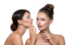 Two beautiful girls with perfect skin Stock Images