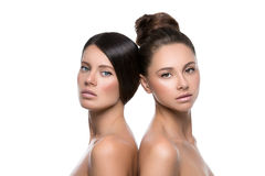 Two beautiful girls with perfect skin Royalty Free Stock Photos