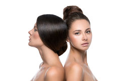 Two beautiful girls with perfect skin Stock Photos