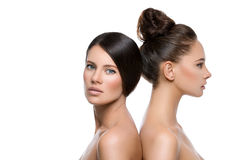 Two beautiful girls with perfect skin Royalty Free Stock Photography