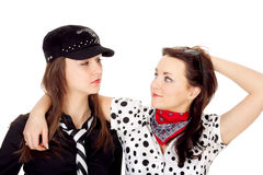 Two beautiful girls portrayed gangsters Royalty Free Stock Photography