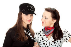 Two beautiful girls portrayed gangsters Stock Photos