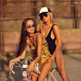 Two beautiful girls posing outdoor Stock Photo