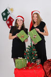 Two beautiful girls with presents Royalty Free Stock Photos