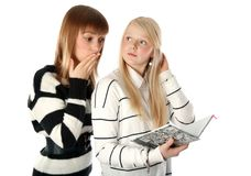 Two beautiful girls read diary book Royalty Free Stock Photos