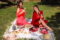 Two beautiful girls in red evening dresses  had a picnic in the park to celebrate the anniversary.