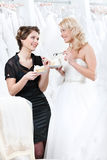 Two beautiful girls selebrate a wonderful choice Stock Photography