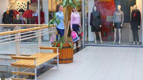 Two beautiful girls with shopping bags goes on. Shopping center stock video footage