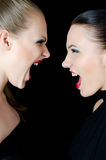 Two beautiful girls shout and swear. The two beautiful girls shout and swear on black Royalty Free Stock Image