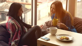 Two beautiful girls sit, drink tea and discuss stock video