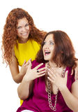 Two beautiful girls smile royalty free stock photography