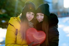 Two beautiful girls stand side by side, informal love, lgbt stock images