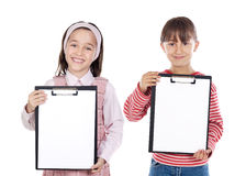 Two beautiful girls student with notepad Stock Photos