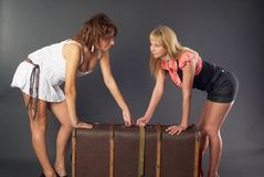 Two beautiful girls with suitcase Royalty Free Stock Image