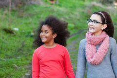 Two beautiful girls taking a walk Stock Photo