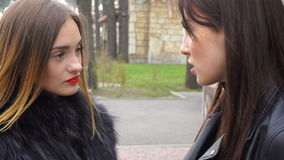 Two beautiful girls talking in the park stock video footage