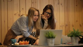 Two beautiful girls talking and use laptop. In cafe stock video footage