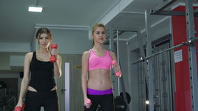 Two beautiful girls in the weights at the gym. 4k stock video footage