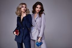 Two beautiful glamour sexy woman friend colleague wear formal dr. Two beautiful glamour sexy women friend colleague wear formal dress coat suit jacket pants Stock Photo